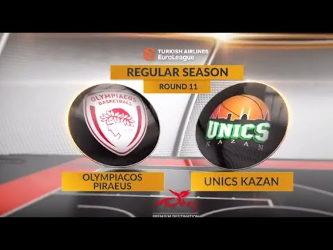 EuroLeague Highlights RS Round 11: Olympiacos Piraeus 88-59 Unics Kazan