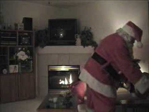 santa - This video was taken on Christmas morning at 1:04 am in 2004. After the clock chimes at one o'clock, the sound of sleigh bells and hoofs are heard. Then foot...