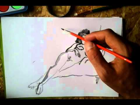 Nude woman watercolour sketch