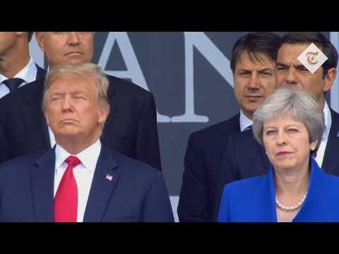 Awkward: Theresa May and Donald Trump at Nato summit