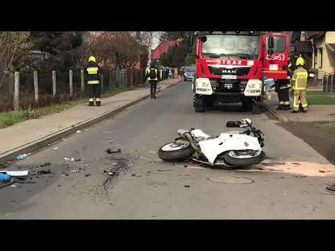 Wideo1: Wypadek z udziałem motocyklisty w Krobi