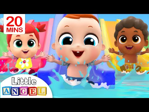 5 Little Babies Playing at the Waterpark | Little Angel Nursery Rhymes