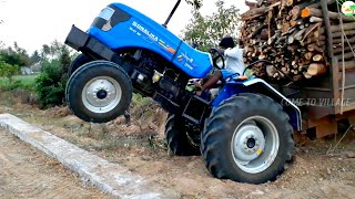 Sonalika DI 47 RX Tractor fully loaded | JCB Machine Help | Sonalika Tractor Stunt Video