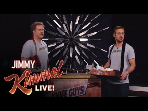 Ryan Gosling Stops by Jimmy Kimmel, Sells Knives – Video
