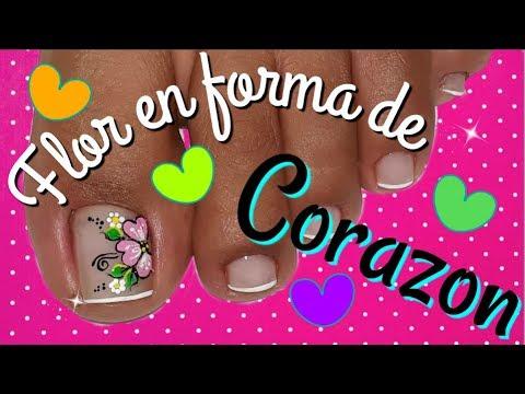 Diseños de uñas - Decoracion de uñas flor corazón/flores fácil para uñas Pies/Decoración de uñas facil