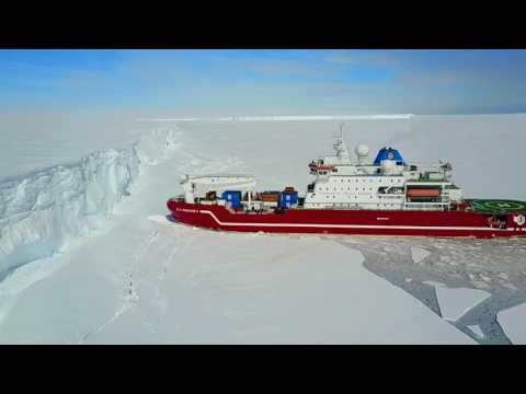Icebreaker Agulhas at the Antarctica Iceshelf