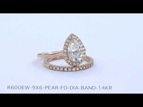 Halo Diamond Pear Moissanite Bridal Set in Rose Gold Pave Band
