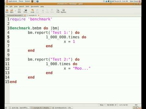 Programming With Ruby Episode 16, Benchmarking
