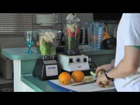 blendtec - How to blend up a green smoothie (vegan) with VitaMix and Blendtec blenders.