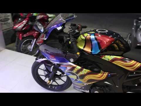 """Siêu phẩm Suzuki GSX cùng phiên bản độ """"Cầu vồng"""" nổi bật giữa đám đông    Phú Tài Decal - Thời lượng: 11 phút."""
