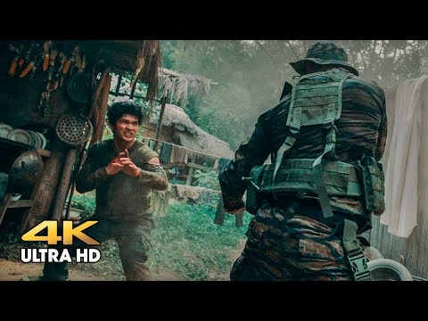 Attack on the camp in the jungle. Peyu (Tony Jaa) vs Jaka (Iko Uwais). Triple threat