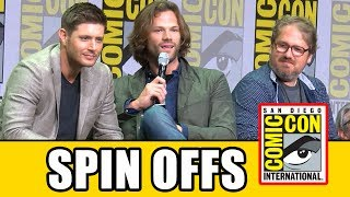 Supernatural Spin-off details revealed at the Supernatural Comic Con Season 13 panel.Subscribe for more! ► http://bit.ly/FlicksSubscribeN.B. Footage, clips, previews, trailers & sneak peeks shown at Comic Con panels are not included in this video, as these are not allowed to be filmed. RELATED VIDEOS--------------Supernatural Season 13 Comic Con Panel ► http://youtu.be/6K9dHXJyLogSupernatural Season 12 Comic Con Panel ► http://youtu.be/V-Sa2Kn1k8QSupernatural Season 11 Comic Con Panel ► http://youtu.be/1BYjUTyoEP4Supernatural Season 10 Comic Con Panel ► http://youtu.be/ruNXjj50_MMPLAYLISTS YOU MIGHT LIKE------------------------Marvel ► http://bit.ly/MarvelVideosFox Marvel Movies ► http://bit.ly/FoxMarvelVideosDC ► http://bit.ly/DCVideosMovie Deleted Scenes & Rejected Concepts ► http://bit.ly/MovieDeletedScenesEaster Eggs ► http://bit.ly/EasterEggVideosAmazing Movie Facts ► http://bit.ly/ThingsYouDidntKnowVideosPixar ► http://bit.ly/PixarVideosDisney Animation ► http://bit.ly/DisneyAnimationVideosStar Wars ► http://bit.ly/StarWarsVidsSOCIAL MEDIA & WEBSITE----------------------Twitter ► http://twitter.com/FlicksCityFacebook ► http://facebook.com/FlicksAndTheCityGoogle+ ► http://google.com/+FlicksAndTheCityWebsite ► http://FlicksAndTheCity.comThanks to Comic Con International http://www.comic-con.org/Series stars and executive producers answer questions about the shocking events in last season's intense two-part finale and preview what's in store for lucky season 13. Fans will also be treated to an exclusive video presentation featuring series highlights of your favorite guys from Kansas and maybe a surprise or two! The 13th season of Supernatural will return to Thursdays this fall in its new 8/7c time slot on The CW. The series is produced by Kripke Enterprises Inc. in association with Warner Bros. Television.Main CastJared Padalecki as Sam WinchesterJensen Ackles as Dean WinchesterMark Pellegrino as LuciferMisha Collins as Castiel Recurring CastAlexander Calvert as JackSamantha Smith as Mary WinchesterBriana Buckmaster as Donna HanscumKim Rhodes as Jody MillsKatherine Ramdeen as Alex JonesKathryn Love Newton as Claire Novak