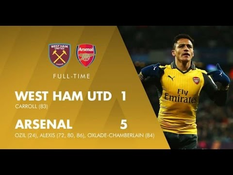 West Ham United vs Arsenal 1 - 5, All Goals and Highlight Primier League  3 December 2016
