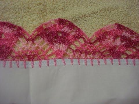 Crochet Orilla Tejida Ondas # 6 Servilleta