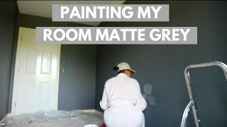 PAINTING MY ROOM MATTE GREY W/ VALSPER PAINT | BEDROOM MAKEOVER PT 3| BOLA MARTINS