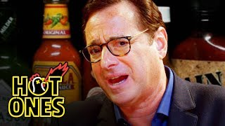 Video Bob Saget Hiccups Uncontrollably While Eating Spicy Wings | Hot Ones MP3, 3GP, MP4, WEBM, AVI, FLV November 2018