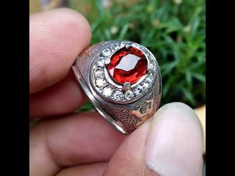 Natural Grossular Garnet Ring perak swasa