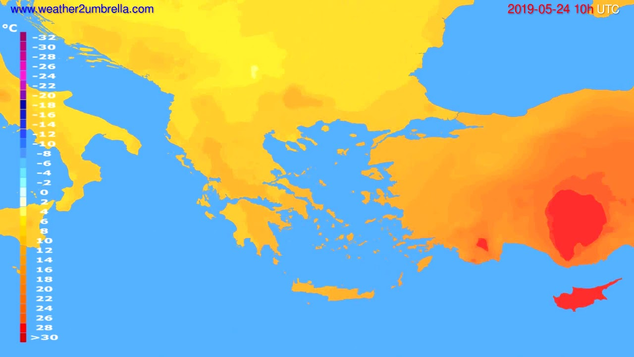 Temperature forecast Greece // modelrun: 12h UTC 2019-05-21