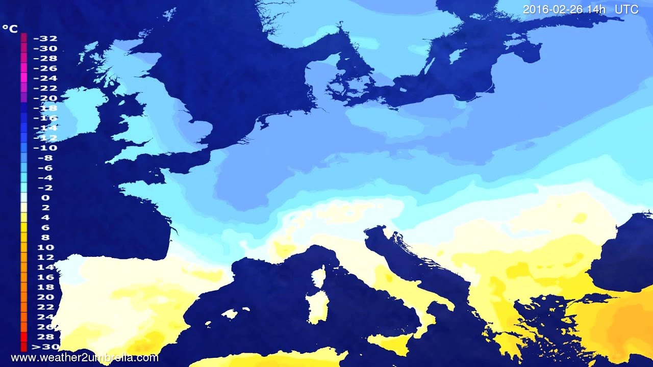 Temperature forecast Europe 2016-02-22