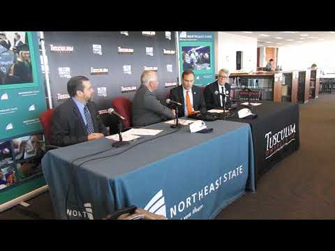 Video: NE State's James King, Tusculum's James Hurley talk about their dual enrollment agreement.