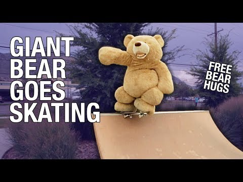 Giant Teddy Bear Gives Out Free Hugs Rides