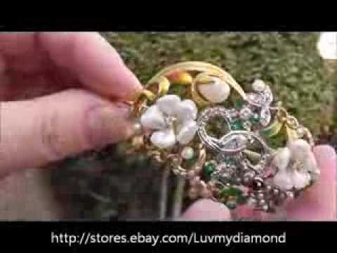 Antique Art Nouveau Diamond Pearl Enamel Bracelet 14K Gold Estate Jewelry
