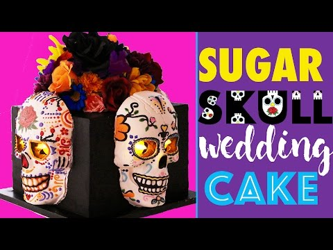 SUGAR SKULL CAKE | How to make a GLOWING DAY OF THE DEAD Wedding CAKE | My Cupcake Addiction