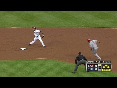 Video: Trout scores on double play