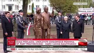 Jarosław Kaczyński odsłonił dzisiaj w Białej Podlaskiej pomnik Lecha i Marii Kaczyńskich.