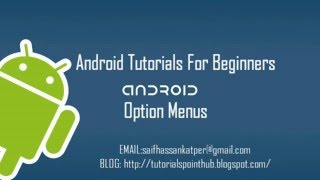 Android Option Menus for Beginners