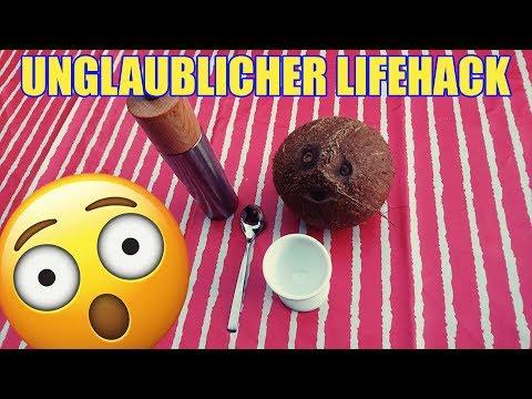 Unglaublicher Lifehack - Wie man eine Kokosnuss mit einem Eierlöffel und Salz öffnet.