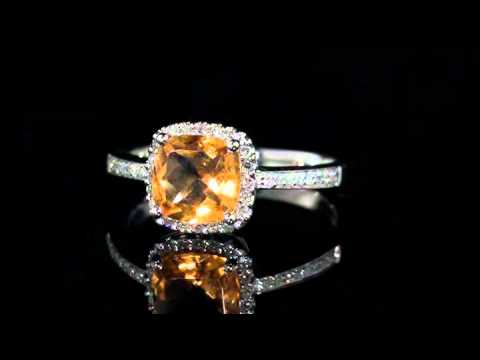 Citrine Ring with Diamonds - 1.75 Carat in 14K White Gold | MyJewelryBox