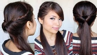 Tucked In Lace Braid Half-up Half-down Hairstyle Hair Tutorial
