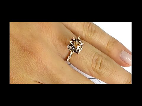 3 carat Cushion Cut Morganite Engagement Ring