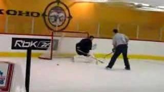 hockey goalie from bridgton on plastic ice