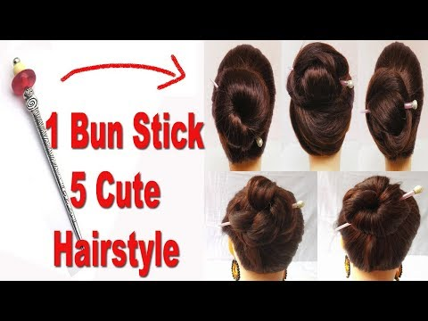 5 Very Easy Bun Hairstyles with bun stick  hair style girl  hairstyles for girls  hairstyles 2018