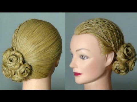прическа braided wedding prom hairstyles tutorial Braid and bun hairstyle for wedding ceremony