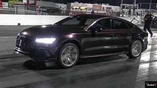 TUNED 650 HP Audi RS7 vs Modded Mustang -1/4 Mile Drag Video x 2 - RoadTestTV by Road Test TV