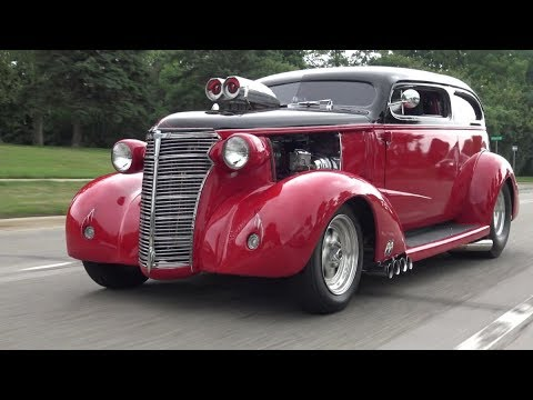 1938 Chevy Master Pro-Street Hot Rod cruising Woodward Avenue, Detroit Michigan