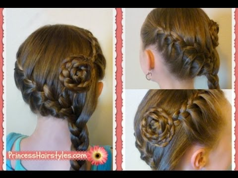 Side Swept French Braid Flower Hairstyle, Medium Long Hairstyles Hair Tutorial
