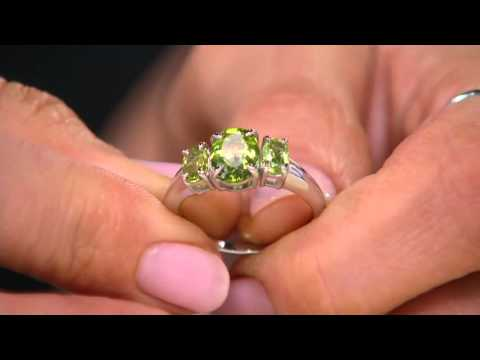 Peridot 3-Stone Sterling Silver Ring, 2.20 cttw on QVC