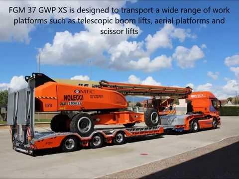 Semi-trailer FGM 37 GWP designed to transport telescopic boom lifts онлайн видео