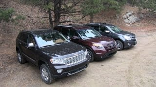 2013 Chevy Equinox v Ford Explorer v Jeep Grand Cherokee Off-Road Mashup AWD Tech Review
