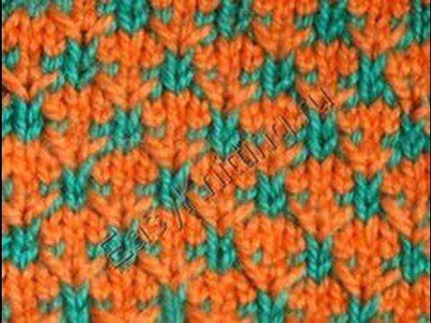 Узоры спицами Двухцветные звездочки. How To Knit 5-Petal Flower Tutorial 10 Вязание цветка спицами