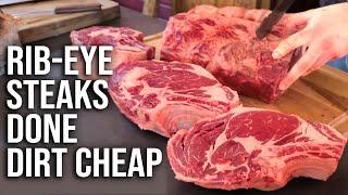 Rib Eye Steaks Done Dirt Cheap by BBQ Pit Boys