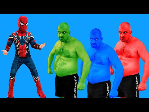 Spider-Man VS Green Hulk VS Blue Hulk VS Red Hulk