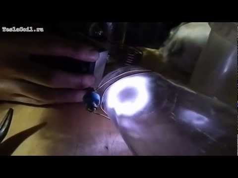 Artificial ball lightning in a vodka bottle