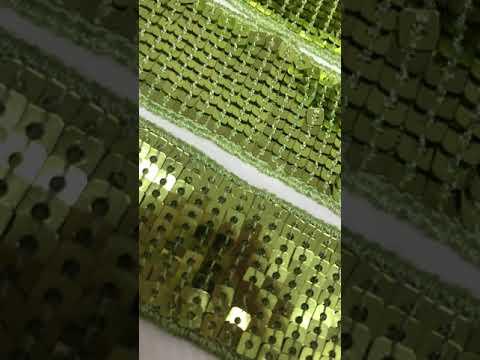 Passamanaria Galão Paetê Verde Claro 33mm Kit 40 Metros