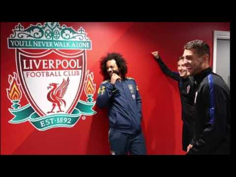Real Madrid Players Marcelo, Kovacic , Modric Have A Laugh In Infront Of Liverpool Badge At Anfield