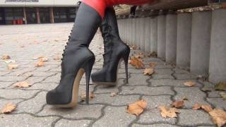 Red Leathercatsuit And 8inch Stiletto Boots